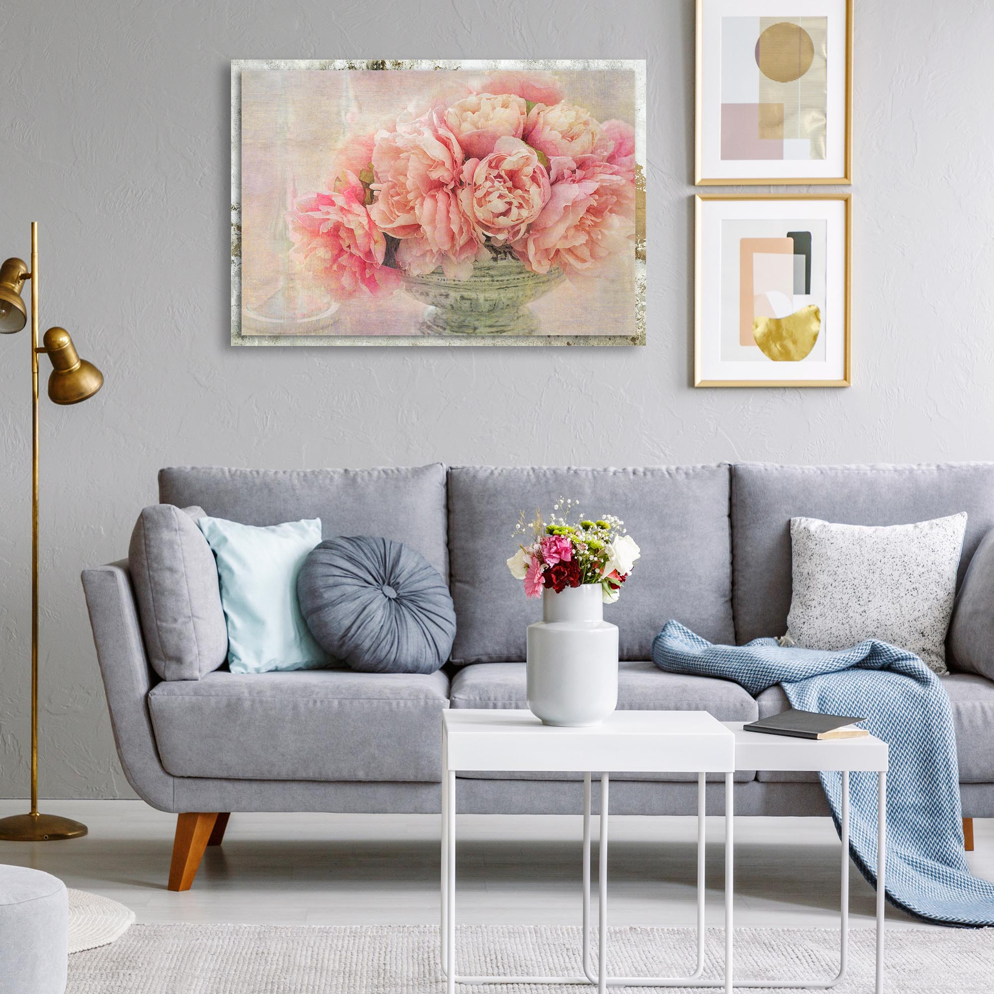 A Posy of Pink Peonies by Gaille Gray - Modern Farmhouse Floral on Metal - Lifestyle View