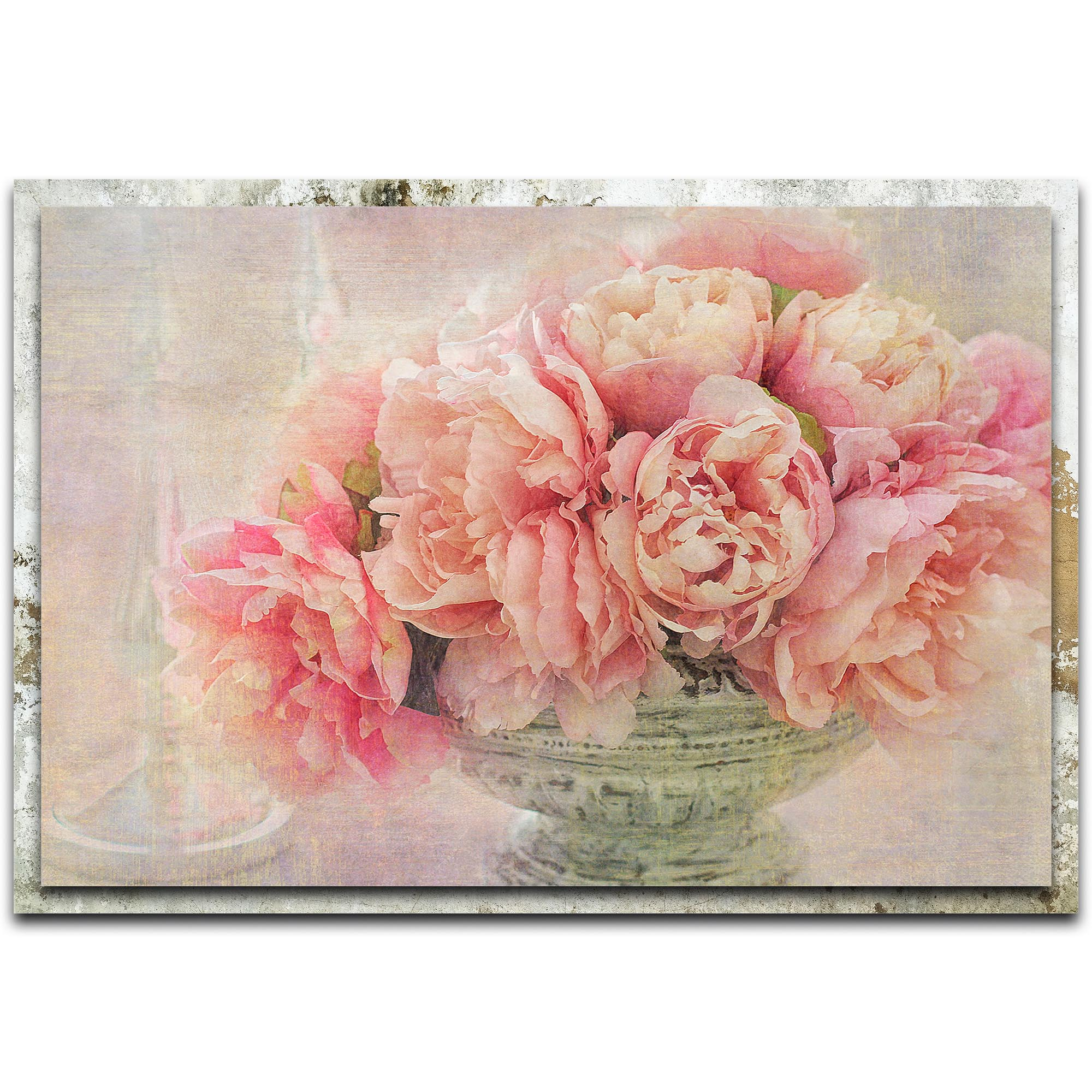 Gaille Gray 'A Posy of Pink Peonies' 32in x 22in Modern Farmhouse Floral on Metal