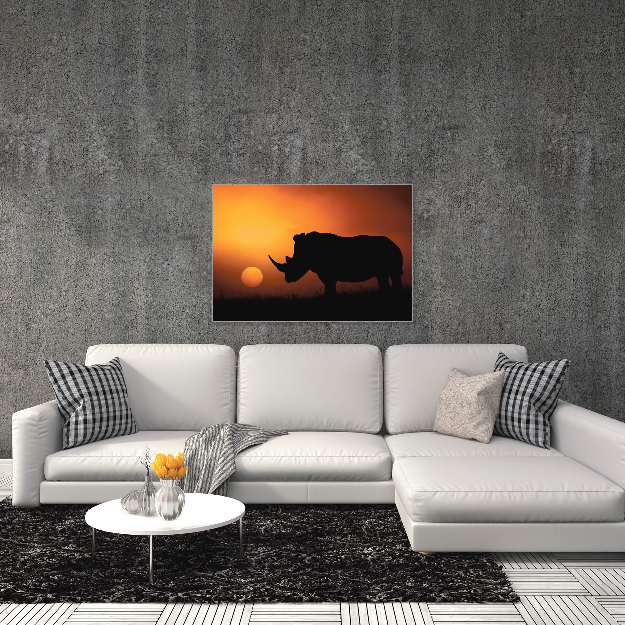 Rhino Sunrise by Mario Moreno - Rhino Silhouette Art on Metal or Acrylic - Alternate View 3