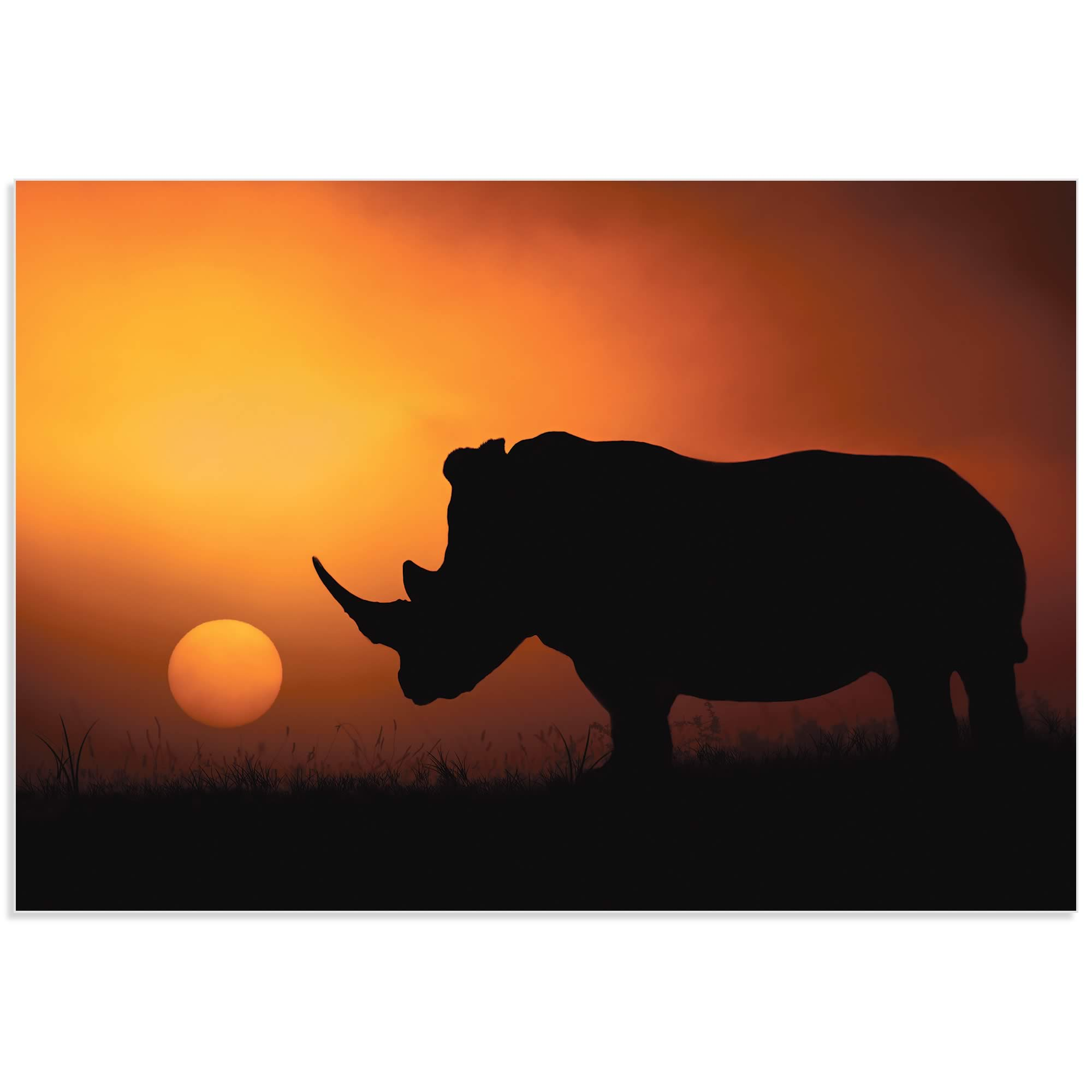 Rhino Sunrise by Mario Moreno - Rhino Silhouette Art on Metal or Acrylic - Alternate View 2