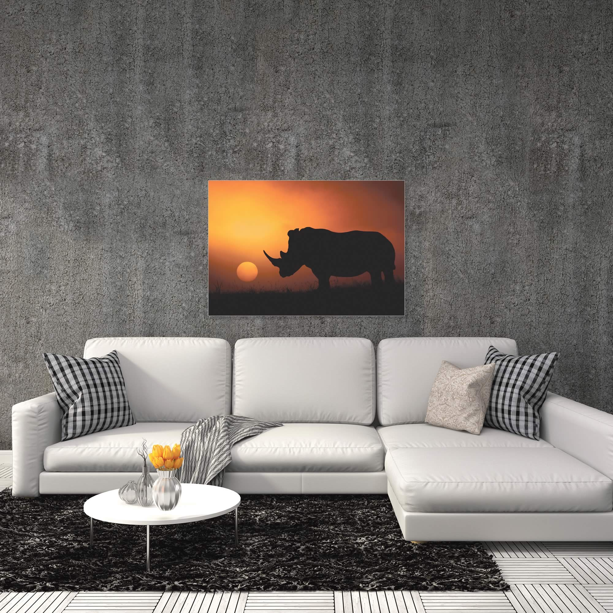 Rhino Sunrise by Mario Moreno - Rhino Silhouette Art on Metal or Acrylic - Alternate View 1