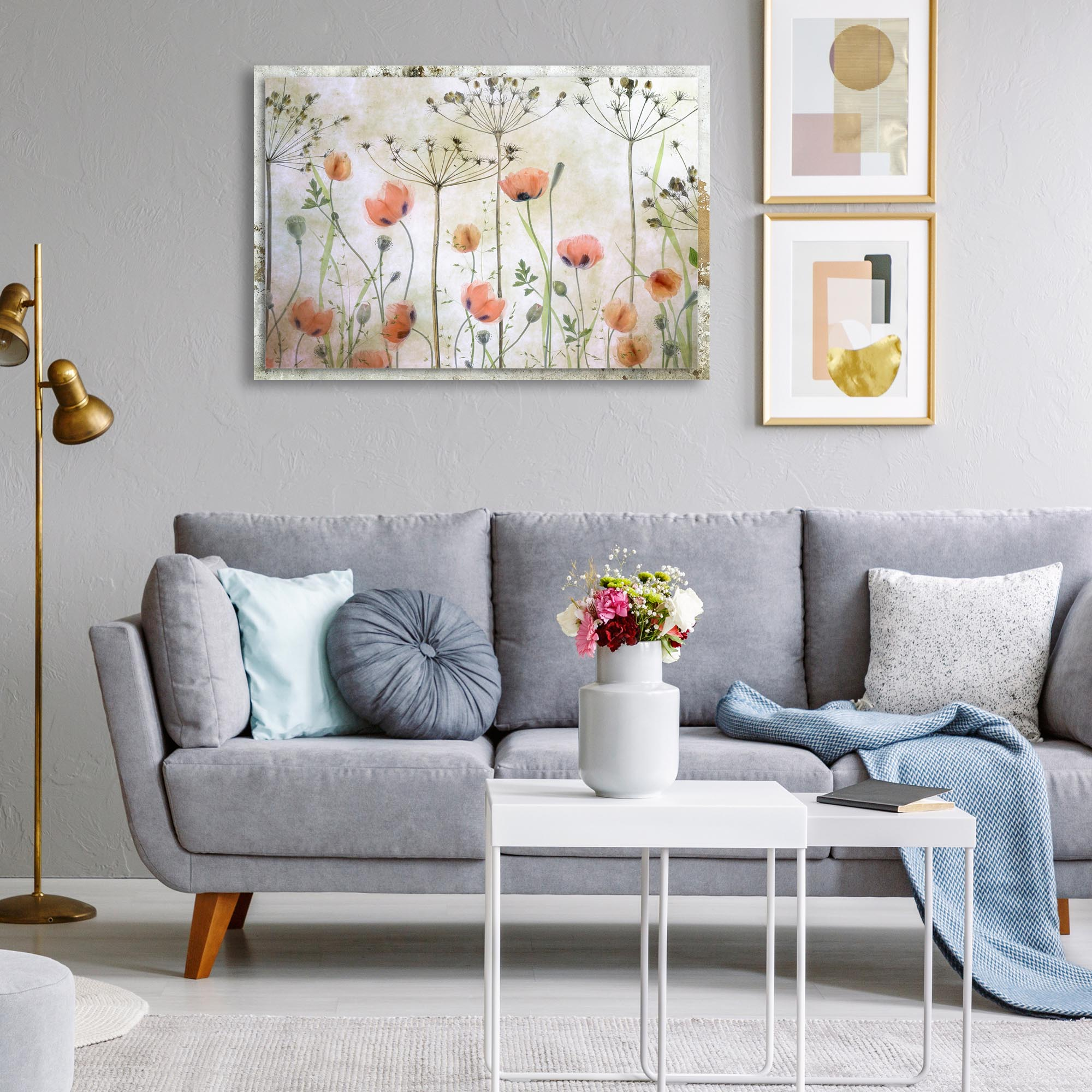 Poppy Meadow by Mandy Disher - Modern Farmhouse Floral on Metal - Lifestyle View