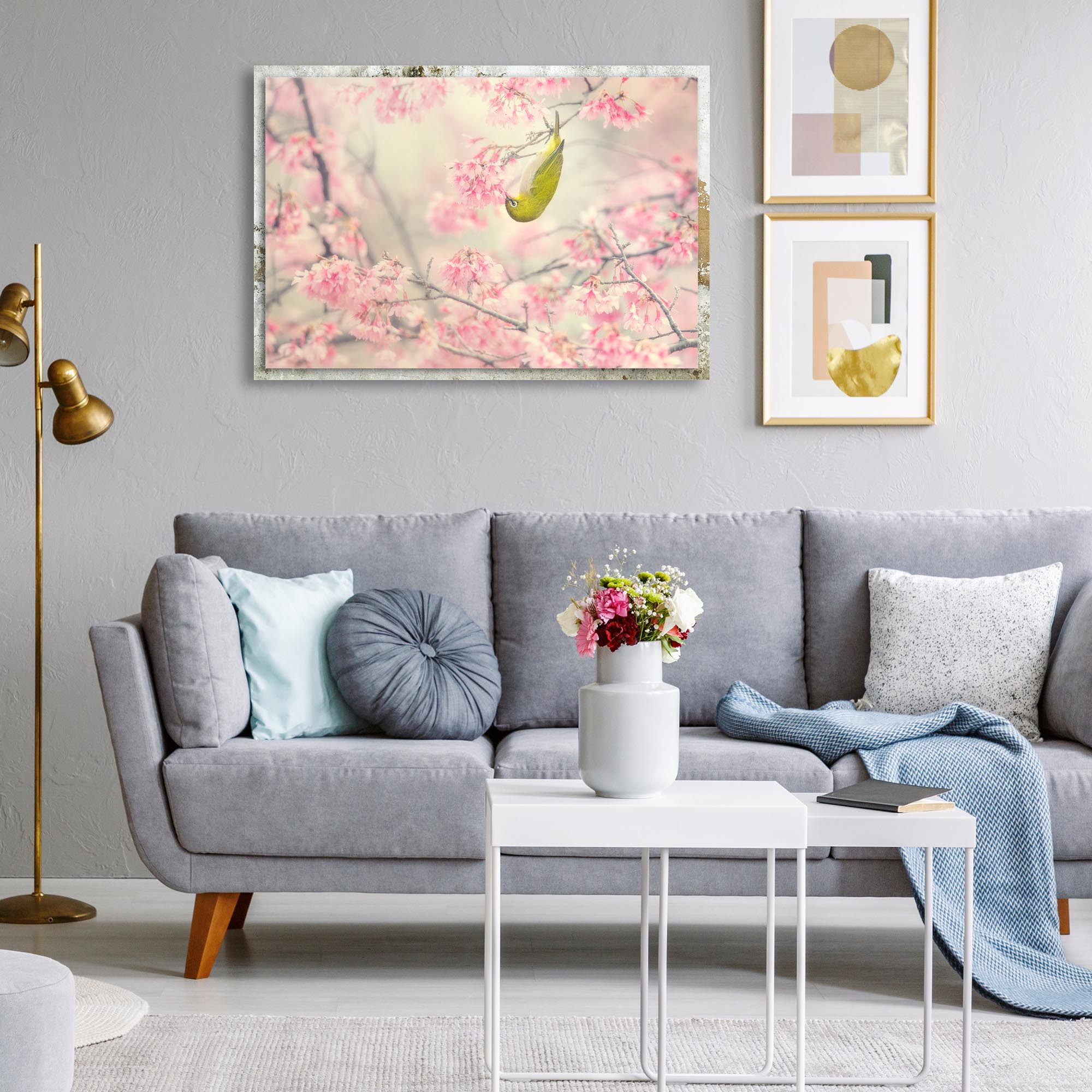 Cherry Blossom Color by Takashi Suzuki - Modern Farmhouse Floral on Metal - Lifestyle View
