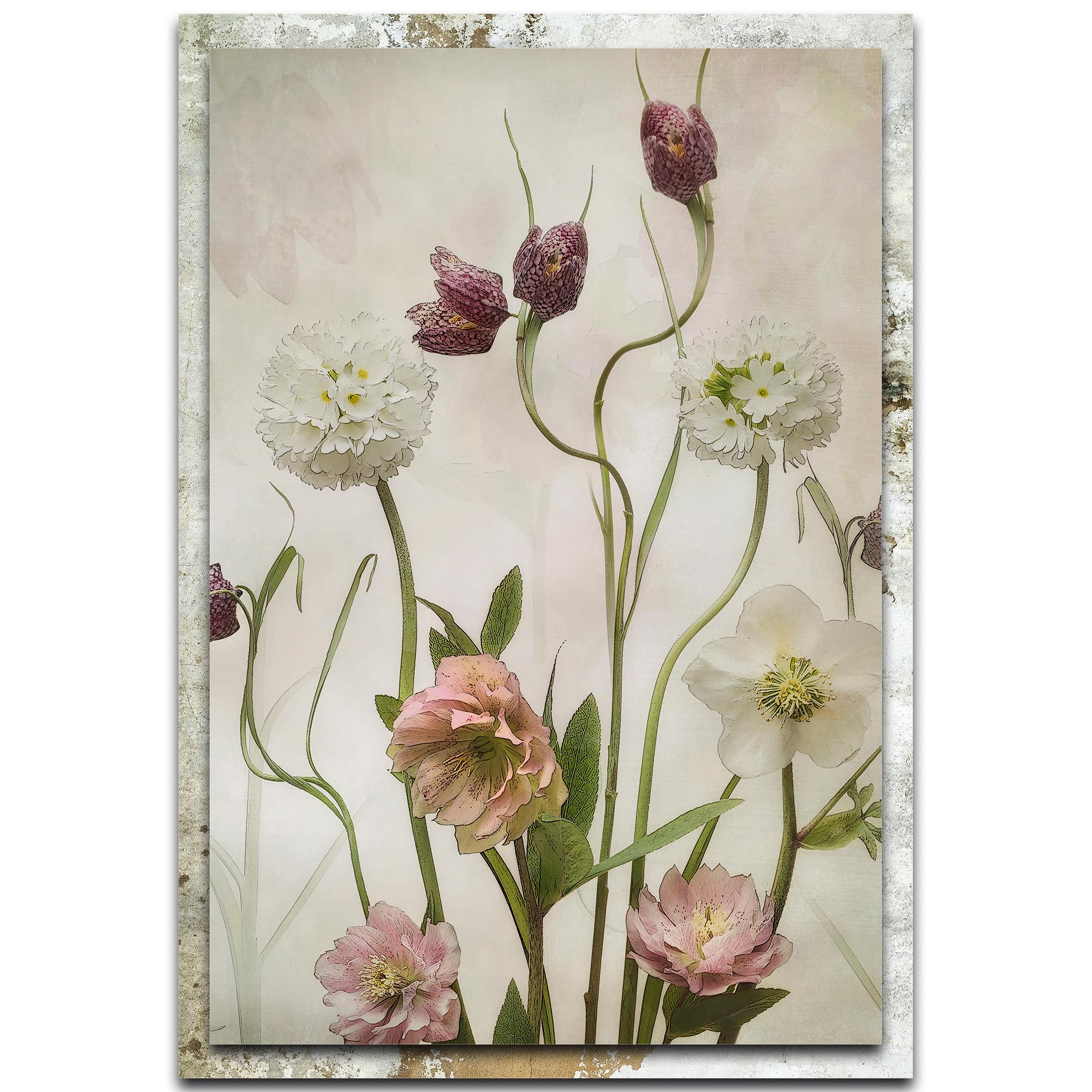 Sharon Williams 'Spring Garden' 22in x 32in Modern Farmhouse Floral on Metal