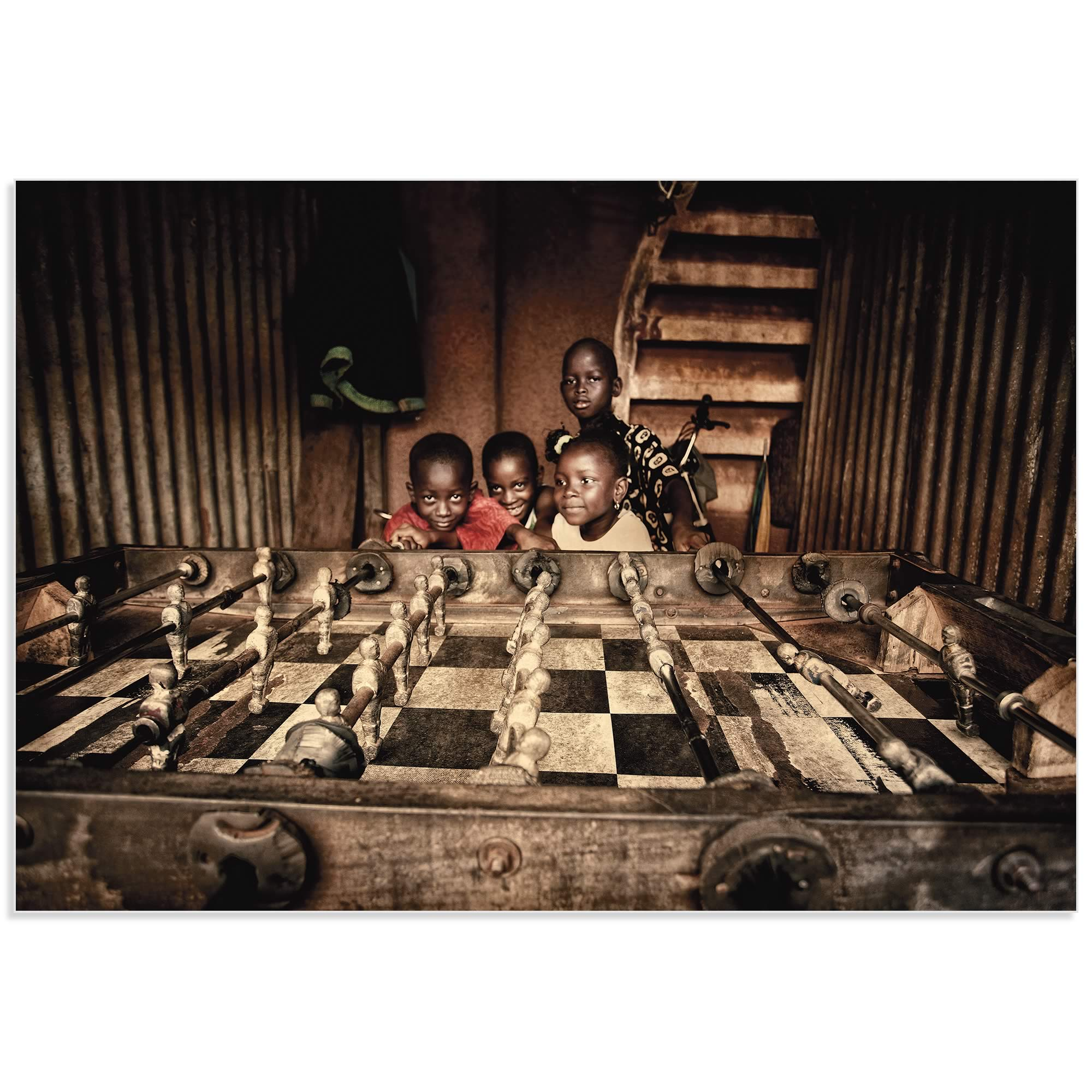Foosballers by Manuel Vilches - African Art Photography on Metal or Acrylic - Alternate View 2