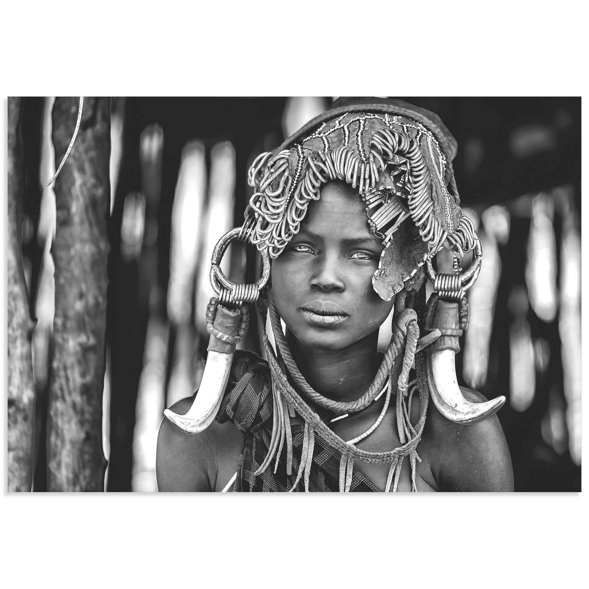 Mursi Headdress by Vedran Vidak - Black & White Indigenous Art on Metal or Acrylic