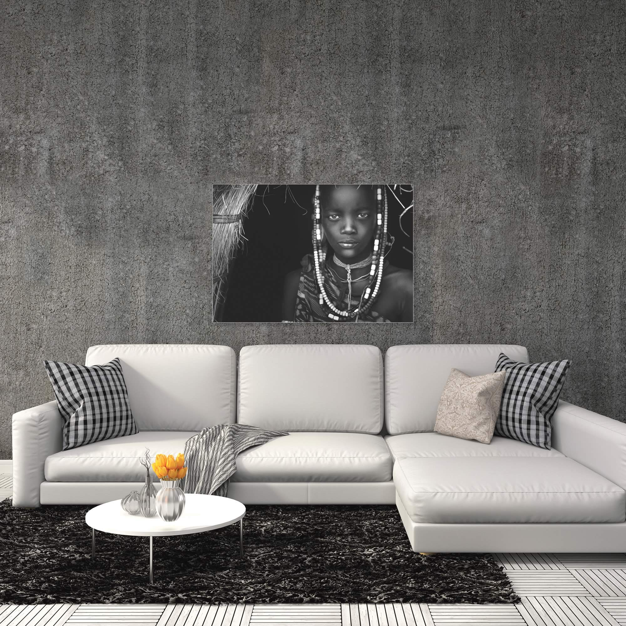 Mursi Girl by Hesham Alhumaid - African Fashion Art on Metal or Acrylic - Alternate View 1