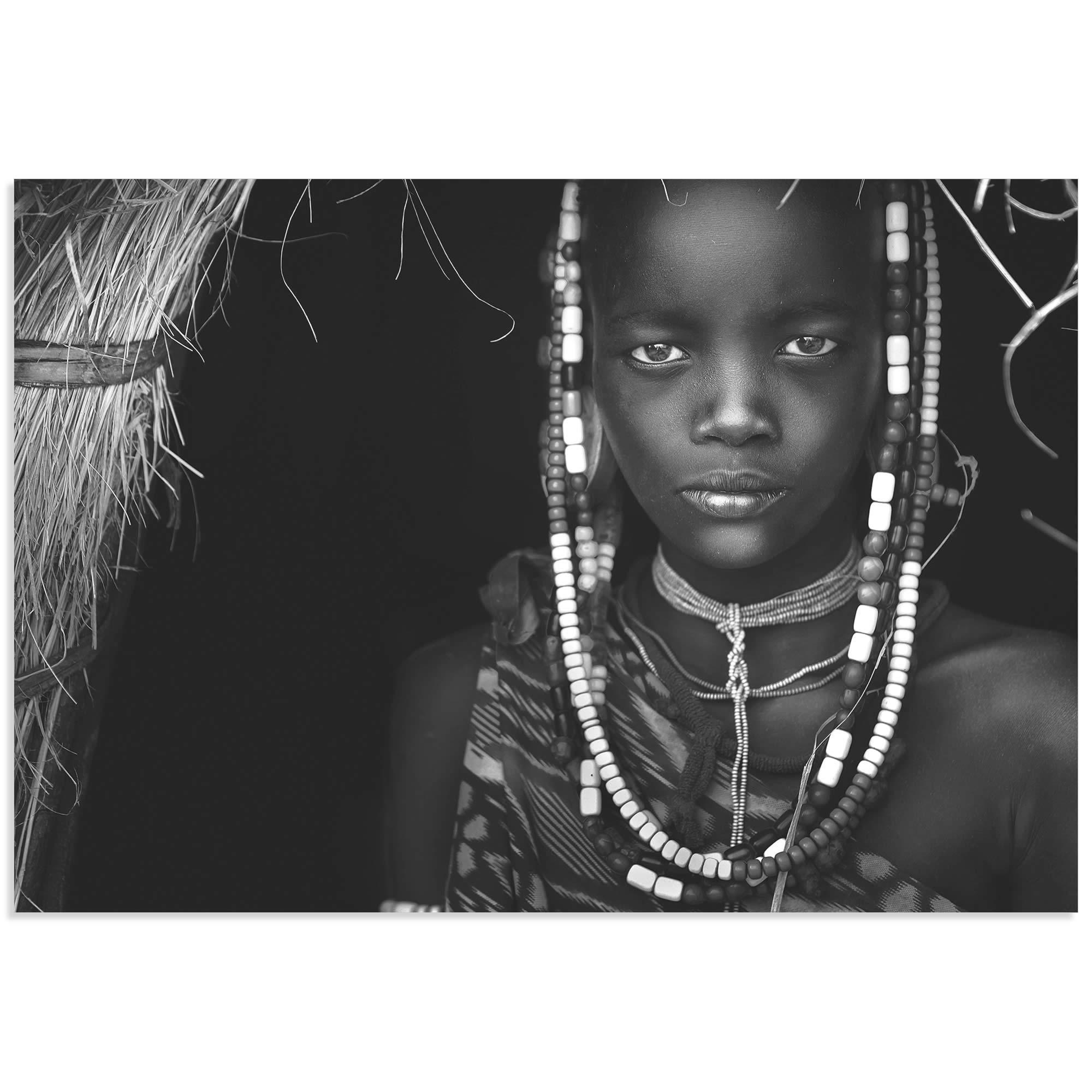 Mursi Girl by Hesham Alhumaid - African Fashion Art on Metal or Acrylic