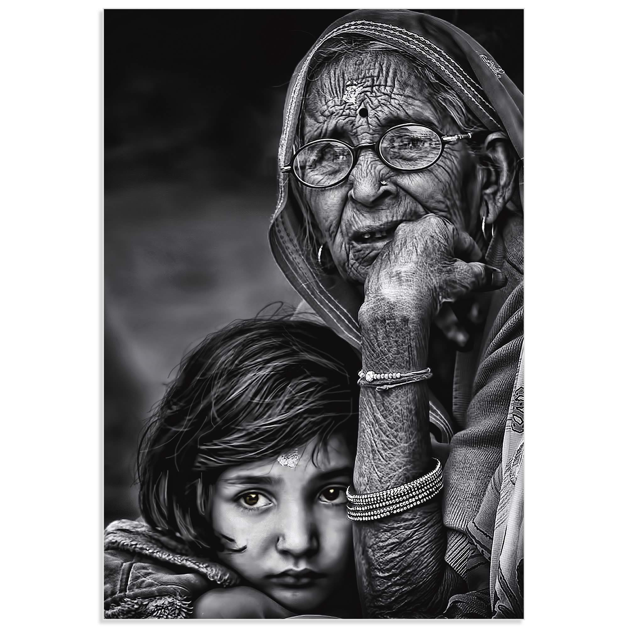 Grandmother by Piet Flour - Hindu Family Art on Metal or Acrylic - Alternate View 2
