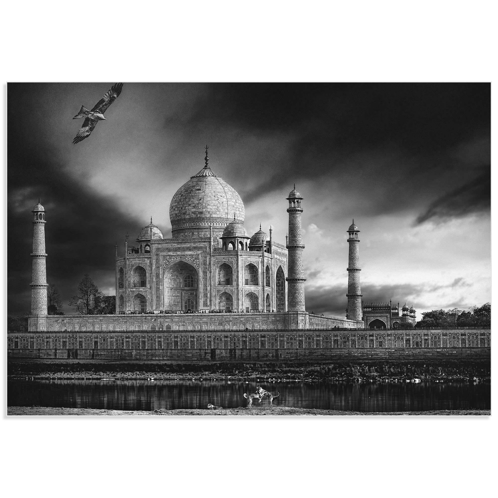 Taj Mahal in Black and White by Piet Flour - Taj Mahal Image on Metal or Acrylic - Alternate View 2