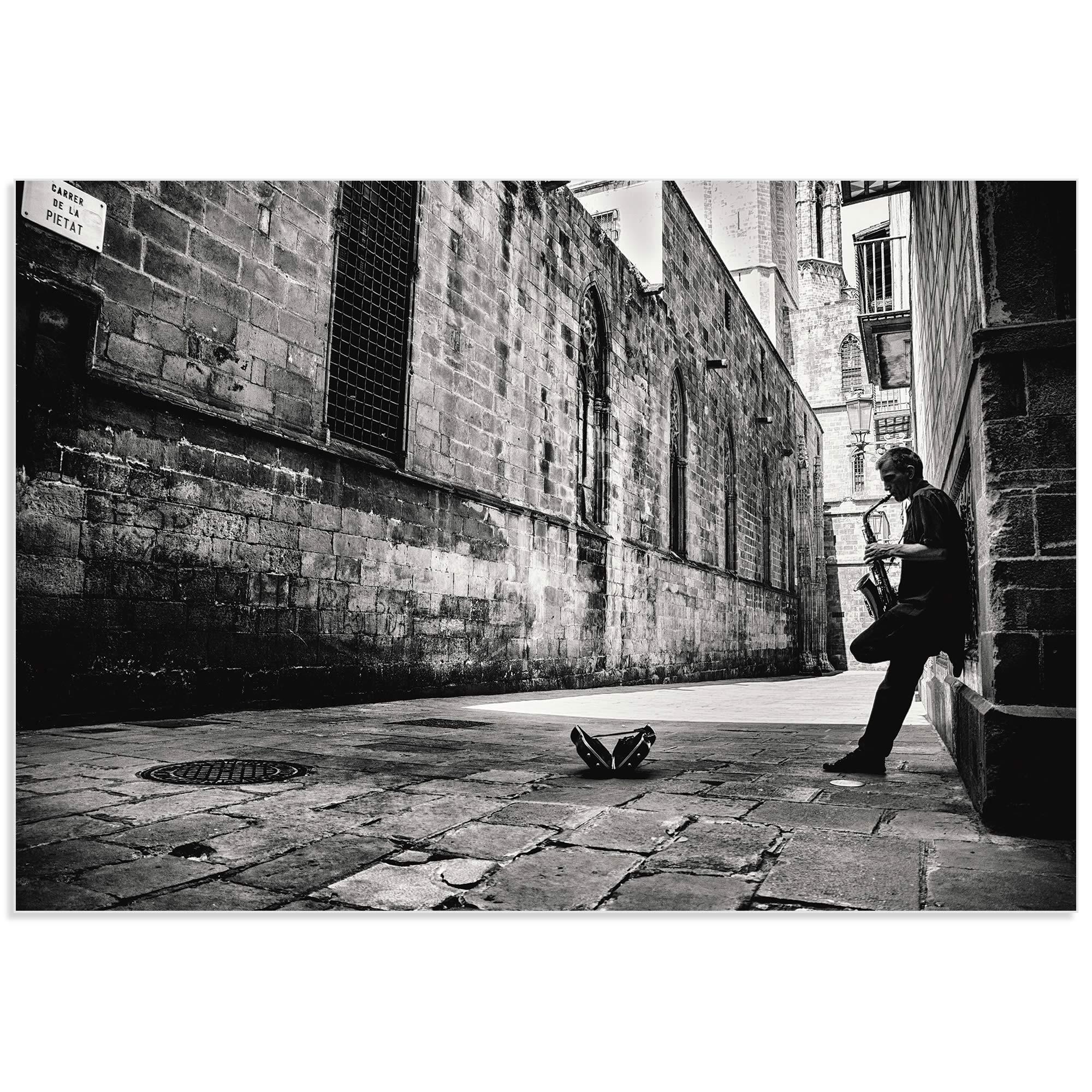 Sax in the City by GertJan van Geerenstein - Black & White Music Art on Metal or Acrylic - Alternate View 2