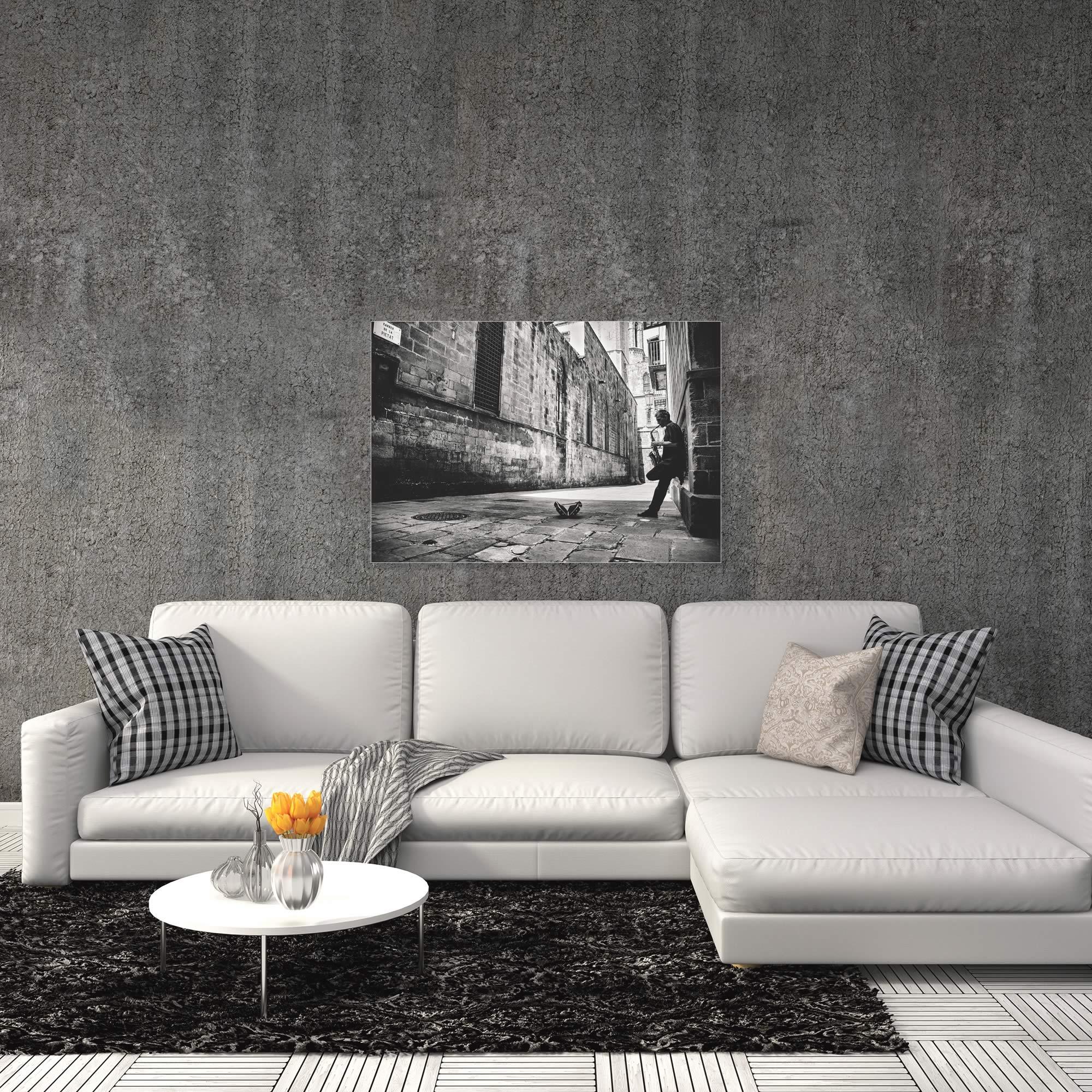 Sax in the City by GertJan van Geerenstein - Black & White Music Art on Metal or Acrylic - Alternate View 1