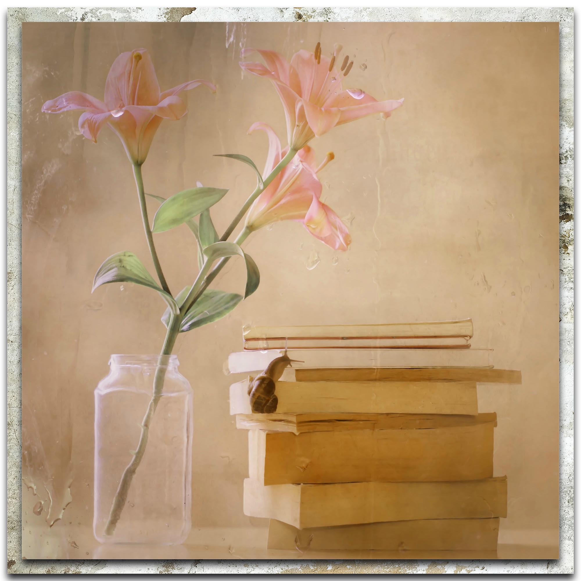 Delphine Devos 'Slowly but Surely' 22in x 22in Modern Farmhouse Floral on Metal